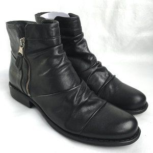 Miz Mooz Lucy W boots black ruched leather zip 41